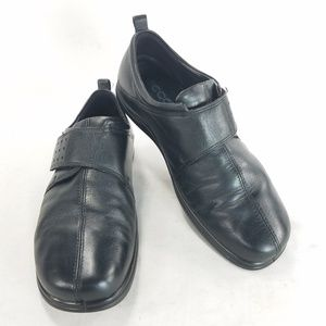 ECCO Black Leather Slip On Comfort Casual Shoes